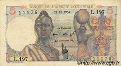 5 Francs type 1943 AFRIQUE OCCIDENTALE FRANÇAISE (1895-1958)  1954 P.36 TTB+