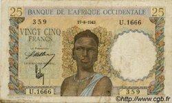 25 Francs AFRIQUE OCCIDENTALE FRANÇAISE (1895-1958)  1943 P.38 TB+