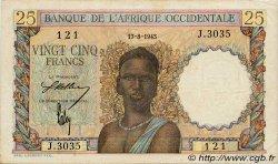 25 Francs AFRIQUE OCCIDENTALE FRANÇAISE (1895-1958)  1943 P.38 TTB+