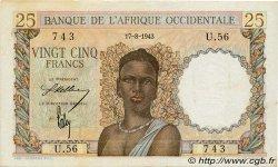 25 Francs AFRIQUE OCCIDENTALE FRANÇAISE (1895-1958)  1943 P.38 SPL