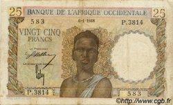 25 Francs type 1943 AFRIQUE OCCIDENTALE FRANÇAISE (1895-1958)  1948 P.38 TB
