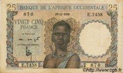 25 Francs AFRIQUE OCCIDENTALE FRANÇAISE (1895-1958)  1950 P.38 TTB