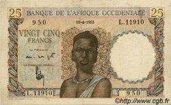 25 Francs type 1943 AFRIQUE OCCIDENTALE FRANÇAISE (1895-1958)  1953 P.38 TTB
