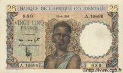 25 Francs type 1943 AFRIQUE OCCIDENTALE FRANÇAISE (1895-1958)  1953 P.38 SUP