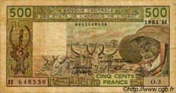 500 Francs type 1980 NIGER  1981 P.606Hb TB