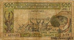 500 Francs type 1980 TOGO  1981 P.806Tc B