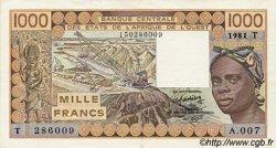 1000 Francs type 1977 TOGO  1981 P.807Tb SUP