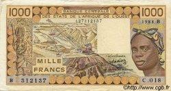 1000 Francs type 1977 BÉNIN  1988 P.207Ba TTB