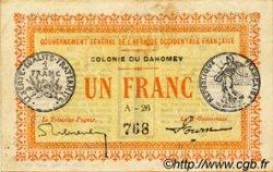 1 Franc DAHOMEY  1917 P.02a TTB