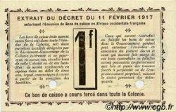 1 Franc DAHOMEY  1917 P.02a pr.NEUF