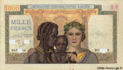 1000 Francs AFRIQUE ÉQUATORIALE FRANÇAISE  1943 P.09s TTB