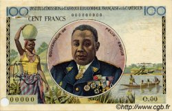 100 Francs type 1956 taille douce CAMEROUN  1957 P.32s TTB à SUP