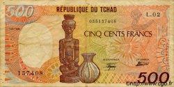 500 Francs type 1984 TCHAD  1986 P.09a TB
