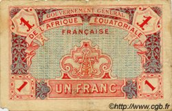 1 Franc AFRIQUE ÉQUATORIALE FRANÇAISE  1917 P.02b pr.TB