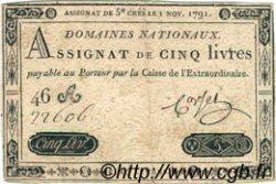 5 Livres FRANCE  1791 Laf.145 TTB