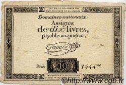 10 Livres FRANCE  1791 Laf.146 TB