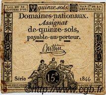 15 Sols FRANCE  1792 Laf.160 B à TB