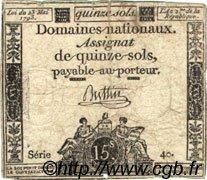 15 Sols FRANCE  1793 Laf.166b TB