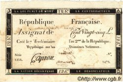 125 Livres VERIFICATEUR FRANCE  1793 Laf.169a TTB+
