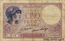 5 Francs VIOLET FRANCE  1917 F.03 B+ à TB