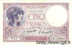 5 Francs VIOLET FRANCE  1923 F.03.07 TTB+ à SUP