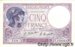 5 Francs VIOLET FRANCE  1923 F.03.07 TTB