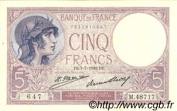 5 Francs VIOLET FRANCE  1932 F.03.16 SUP+