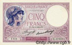 5 Francs VIOLET FRANCE  1933 F.03.17 SPL