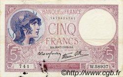 5 Francs VIOLET modifié FRANCE  1939 F.04.02 TTB+
