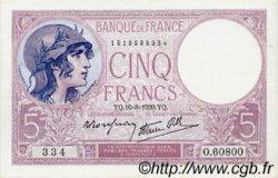 5 Francs VIOLET modifié FRANCE  1939 F.04.05