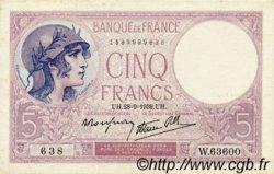 5 Francs VIOLET modifié FRANCE  1939 F.04.10 SPL