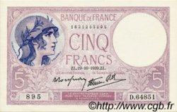 5 Francs VIOLET modifié FRANCE  1939 F.04.12 SPL