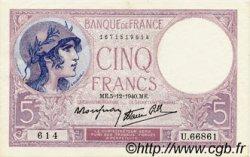 5 Francs VIOLET modifié FRANCE  1940 F.04.16 SUP+
