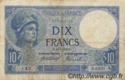 10 Francs MINERVE FRANCE  1918 F.06.03 pr.TB