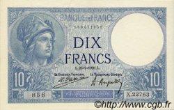 10 Francs MINERVE FRANCE  1926 F.06.10 pr.SUP