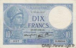 10 Francs MINERVE modifié FRANCE  1939 F.07.03 TTB