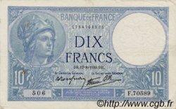 10 Francs MINERVE modifié FRANCE  1939 F.07.05 TTB
