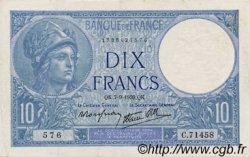 10 Francs MINERVE modifié FRANCE  1939 F.07.06 TTB+