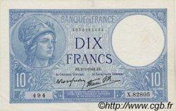 10 Francs MINERVE modifié FRANCE  1941 F.07.26 TTB+