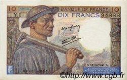 10 Francs MINEUR FRANCE  1941 F.08.01 TTB+ à SUP