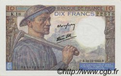 10 Francs MINEUR FRANCE  1942 F.08.05 SPL