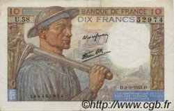 10 Francs MINEUR FRANCE  1943 F.08.09 TTB+