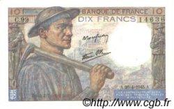 10 Francs MINEUR FRANCE  1945 F.08.14 SPL