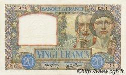 20 Francs SCIENCE ET TRAVAIL FRANCE  1940 F.12.06 TTB