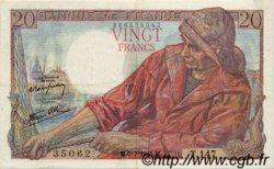 20 Francs PÊCHEUR FRANCE  1945 F.13.10 TTB à SUP