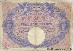 50 Francs BLEU ET ROSE FRANCE  1911 F.14.24 TB