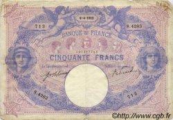 50 Francs BLEU ET ROSE FRANCE  1912 F.14.25 TB