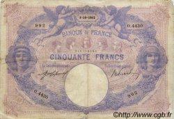 50 Francs BLEU ET ROSE FRANCE  1912 F.14.25 B+ à TB