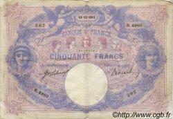 50 Francs BLEU ET ROSE FRANCE  1913 F.14.26 TB