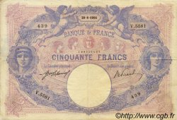 50 Francs BLEU ET ROSE FRANCE  1914 F.14.27 TB à TTB